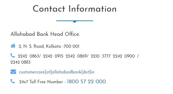 allahabad bank customer care Number