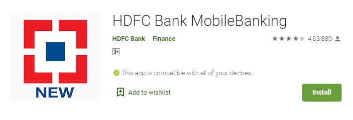 HDFC Mobile banking