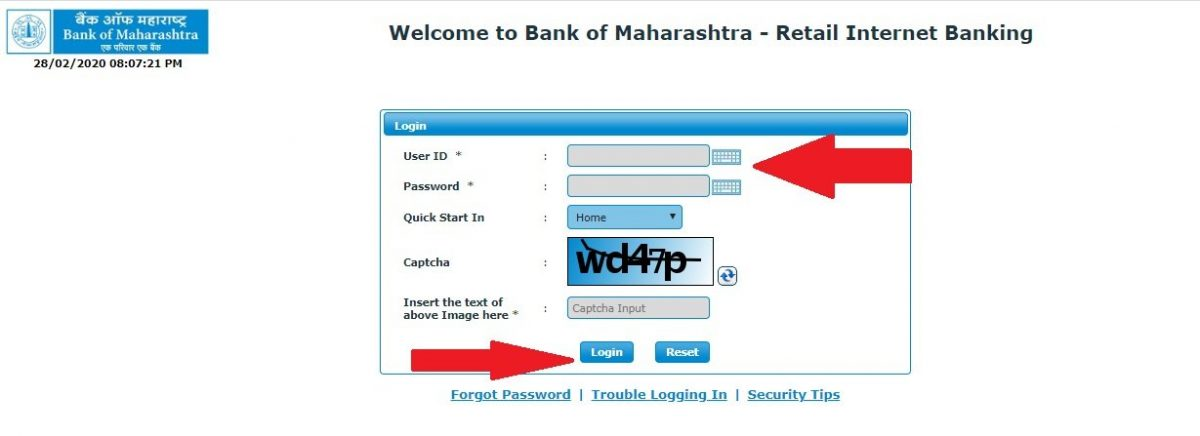 Bank of Maharashtra net banking