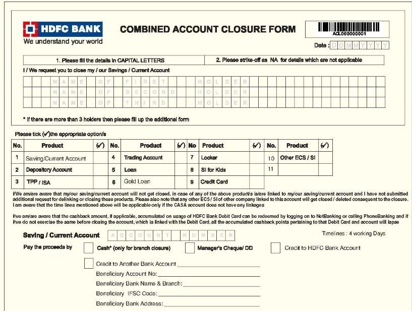 HDFC account Closure Form