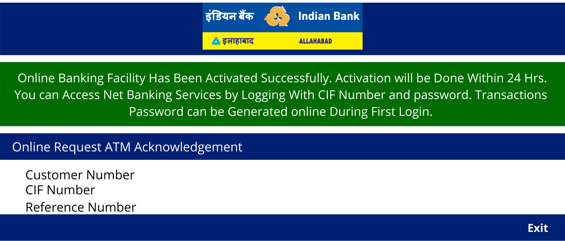 Indian bank Net Banking Activation