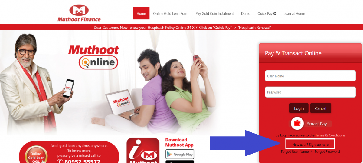 Muthoot online Registrations
